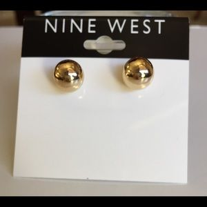 Nine West Gold Tone Ball Stud Earrings
